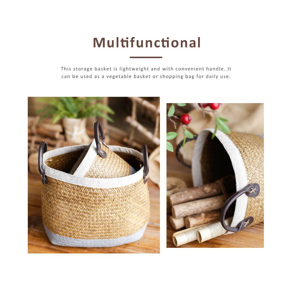 Handmade Woven Basket Large Capacity Home Toys Storage Bag Shopping Bag Fashion Home Flower Basket Decor with Leather Handle 3