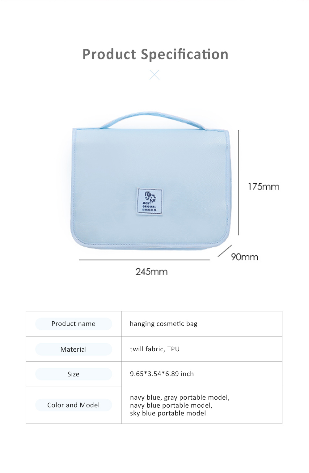 Large Capacity Waterproof Twill Fabric Makeup Cosmetic Bag, Minimalist Portable Functional Travel Toiletry Wash Storage Hanging Bag 7
