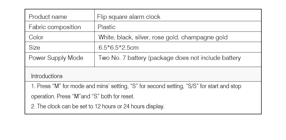Creative Flip Square Alarm Clock, Timer Reminder Vibrator Timer, Square Student Bedroom Desktop Decoration Alarm Clock, Time Management Timing Clock 6