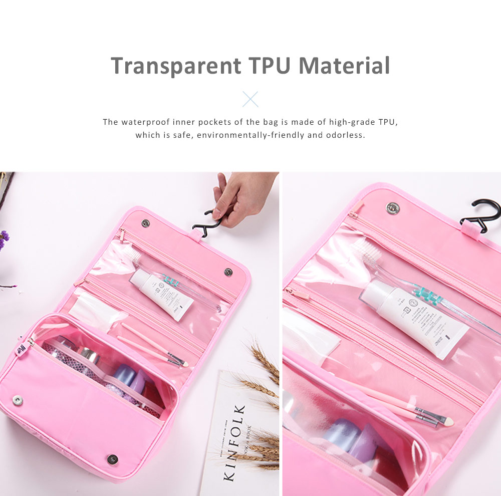 Large Capacity Waterproof Twill Fabric Makeup Cosmetic Bag, Minimalist Portable Functional Travel Toiletry Wash Storage Hanging Bag 1