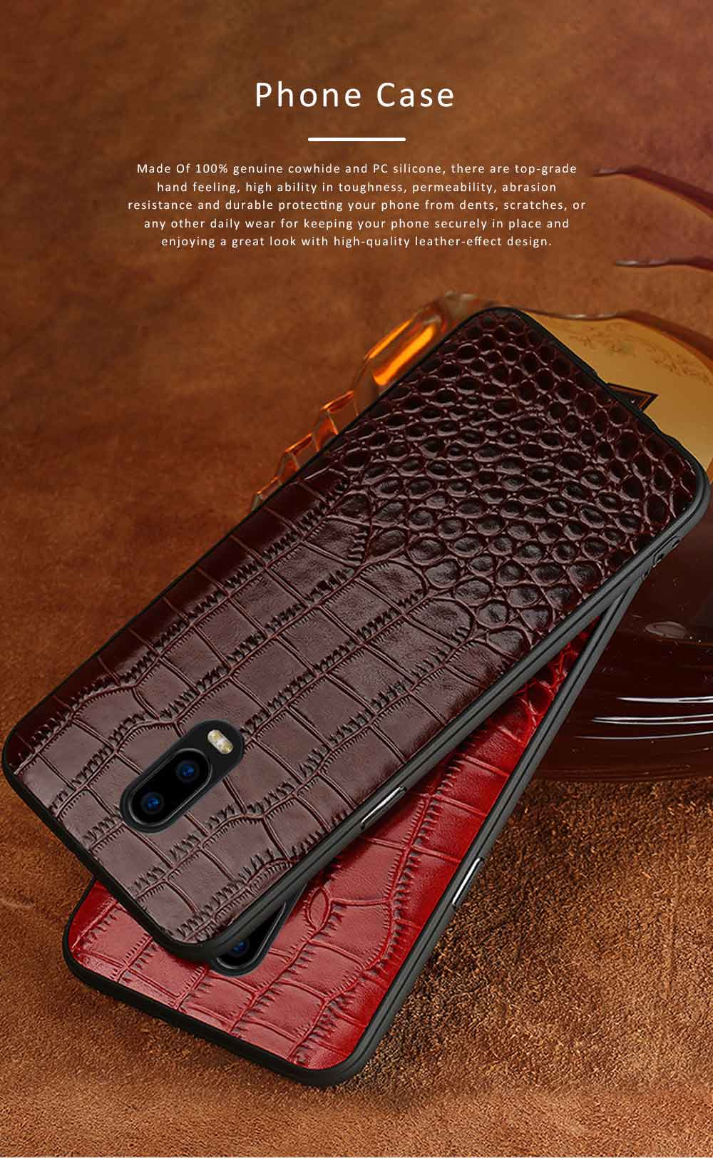 Phone Case Retro Genuine Leather 3D Alligator Skin Texture Case Fashion Phone Accessories for OPPOR Series 0