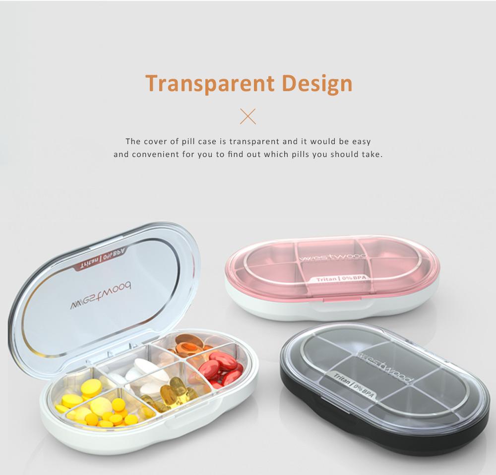 Westwood Tritan BPA Free Weekly Sealed Pill Box with Transparent 6 Slots 2