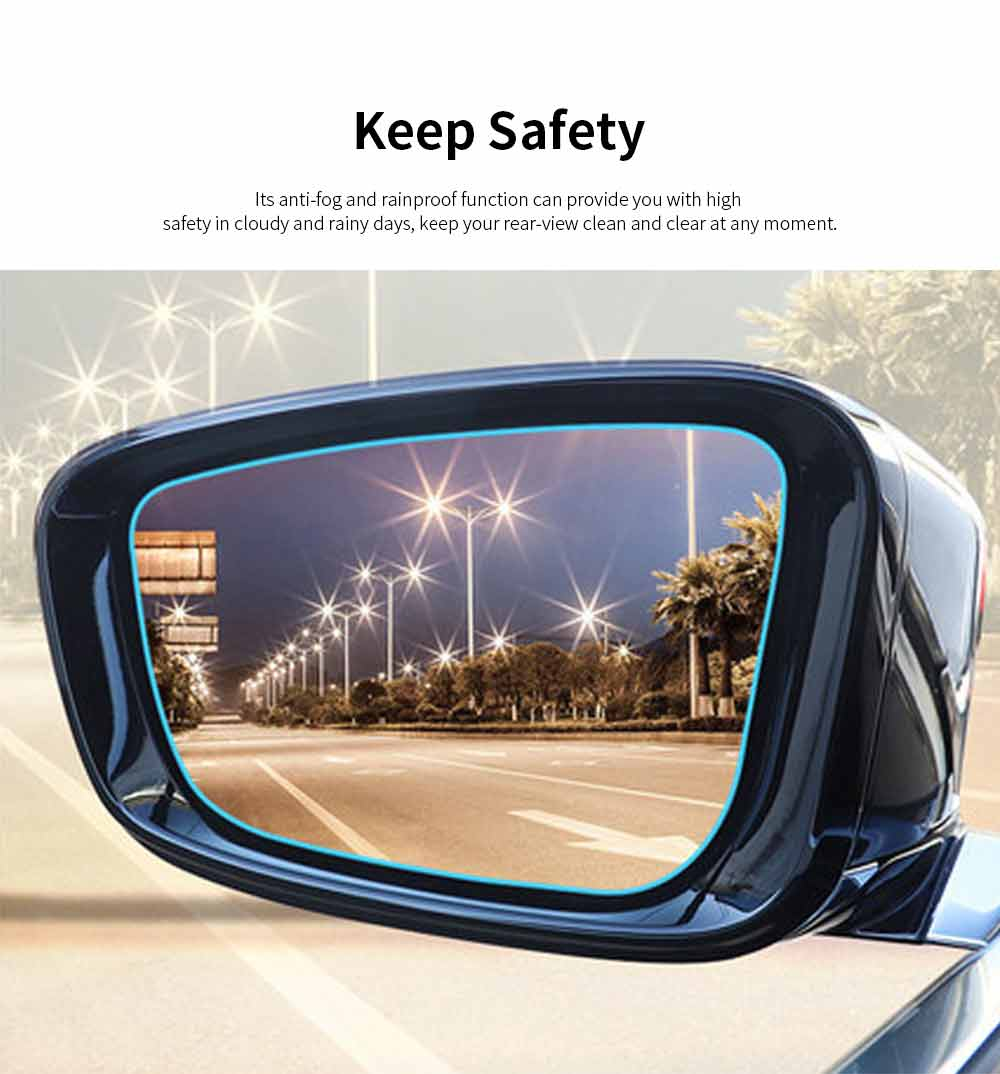 Car Rearview Mirror Glass Film Rainproof Anti-Fog Film Dust-Proof Anti-Glare Anti-Scratch Protective Film 2