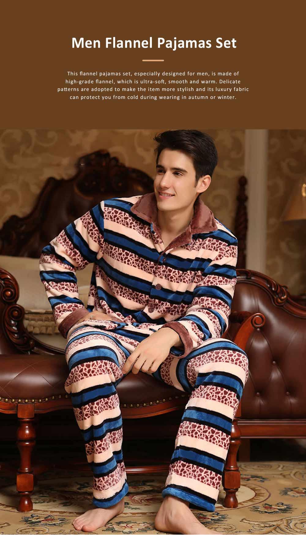 Warm Flannel Long Sleeve Men Pajamas Suit, Autumn Winter Luxury Ultra-soft Coral Fleece Lapel Sleepwear Set for Men 0