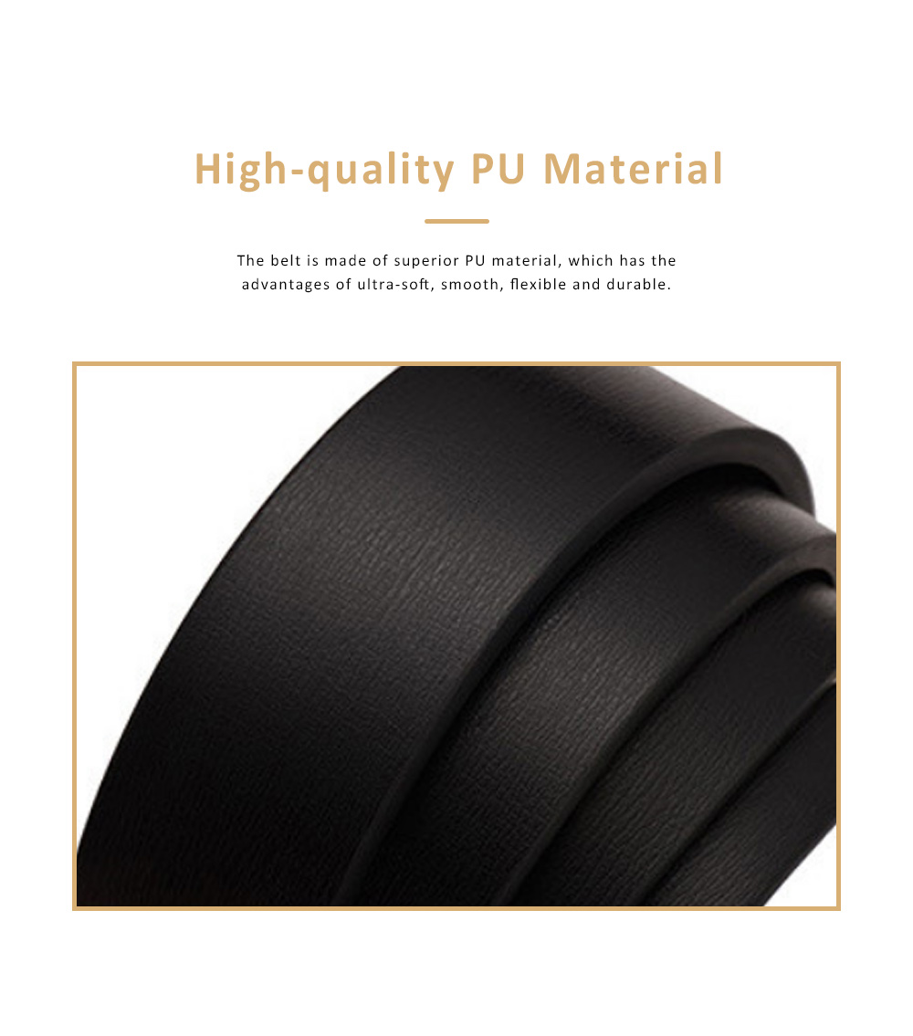 Minimalist Ultra-soft Smooth PU Men Alloy Slide Buckle Belt, Casual Youth Waist Band for Men Students 1