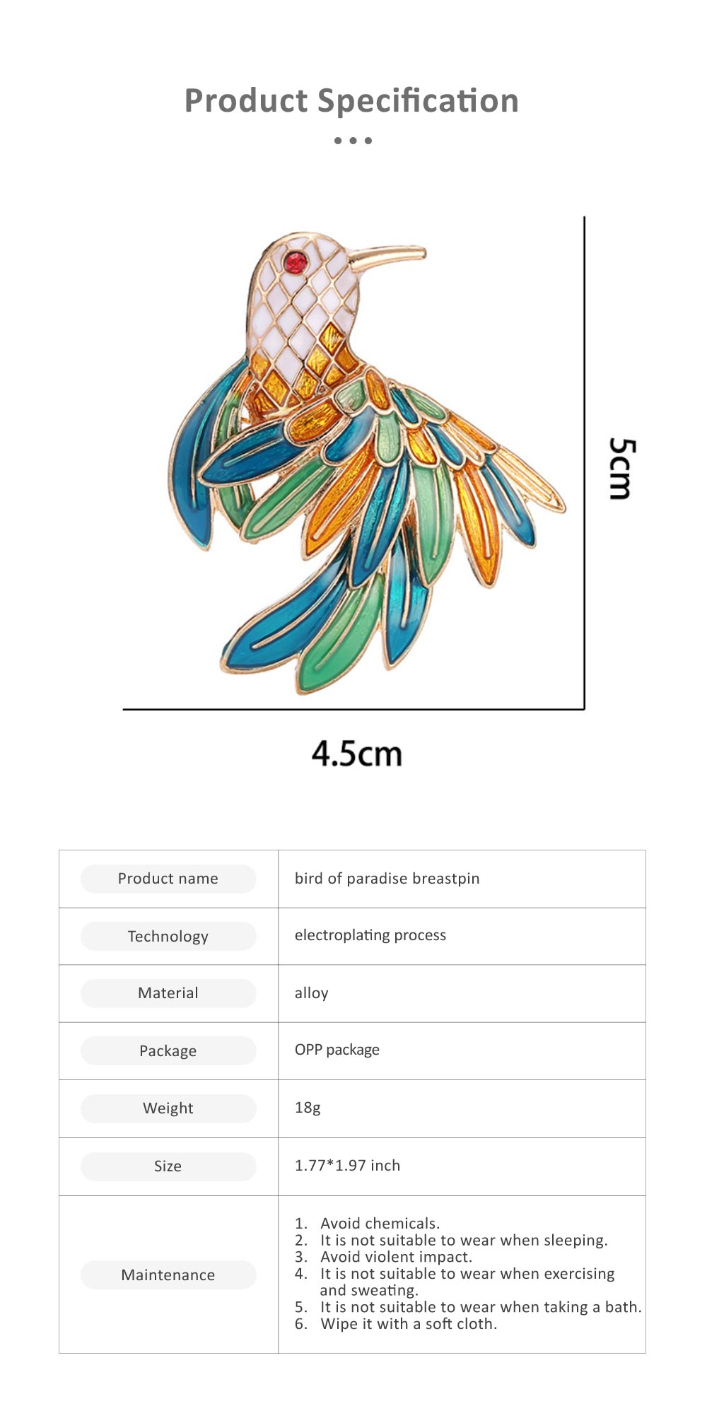 Delicate Fancy Bird of Paradise Model Breastpin for Ladies, Colorful Oil-spot Glaze Brooch Clothes Ornament Decoration 5