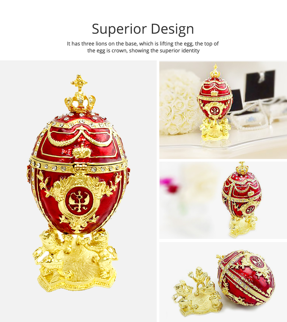 European Palace Style Egg-shaped Jewelry Storage Box Innovative Metal Artwork Ornament Jewelry Holder 1