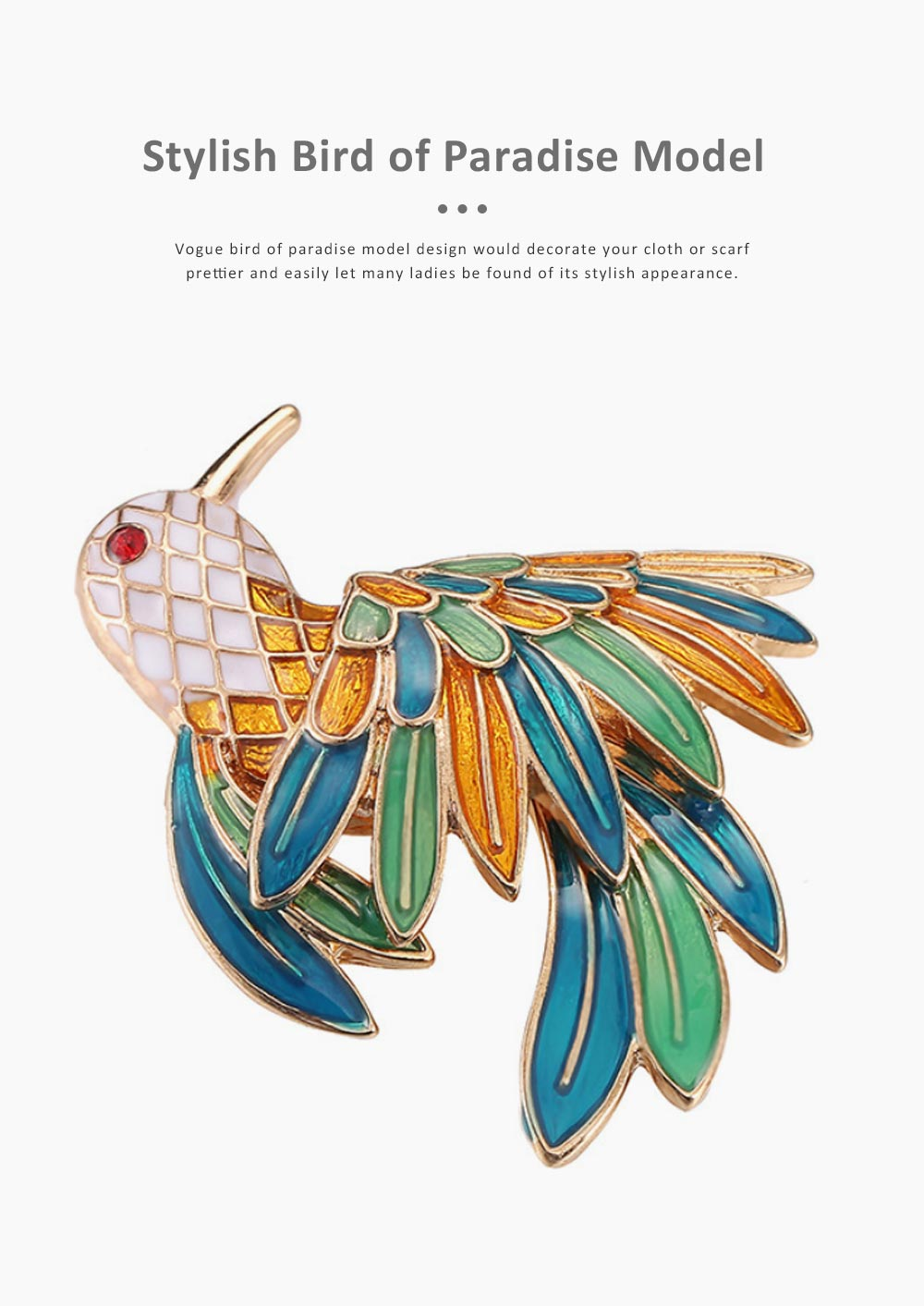 Delicate Fancy Bird of Paradise Model Breastpin for Ladies, Colorful Oil-spot Glaze Brooch Clothes Ornament Decoration 4