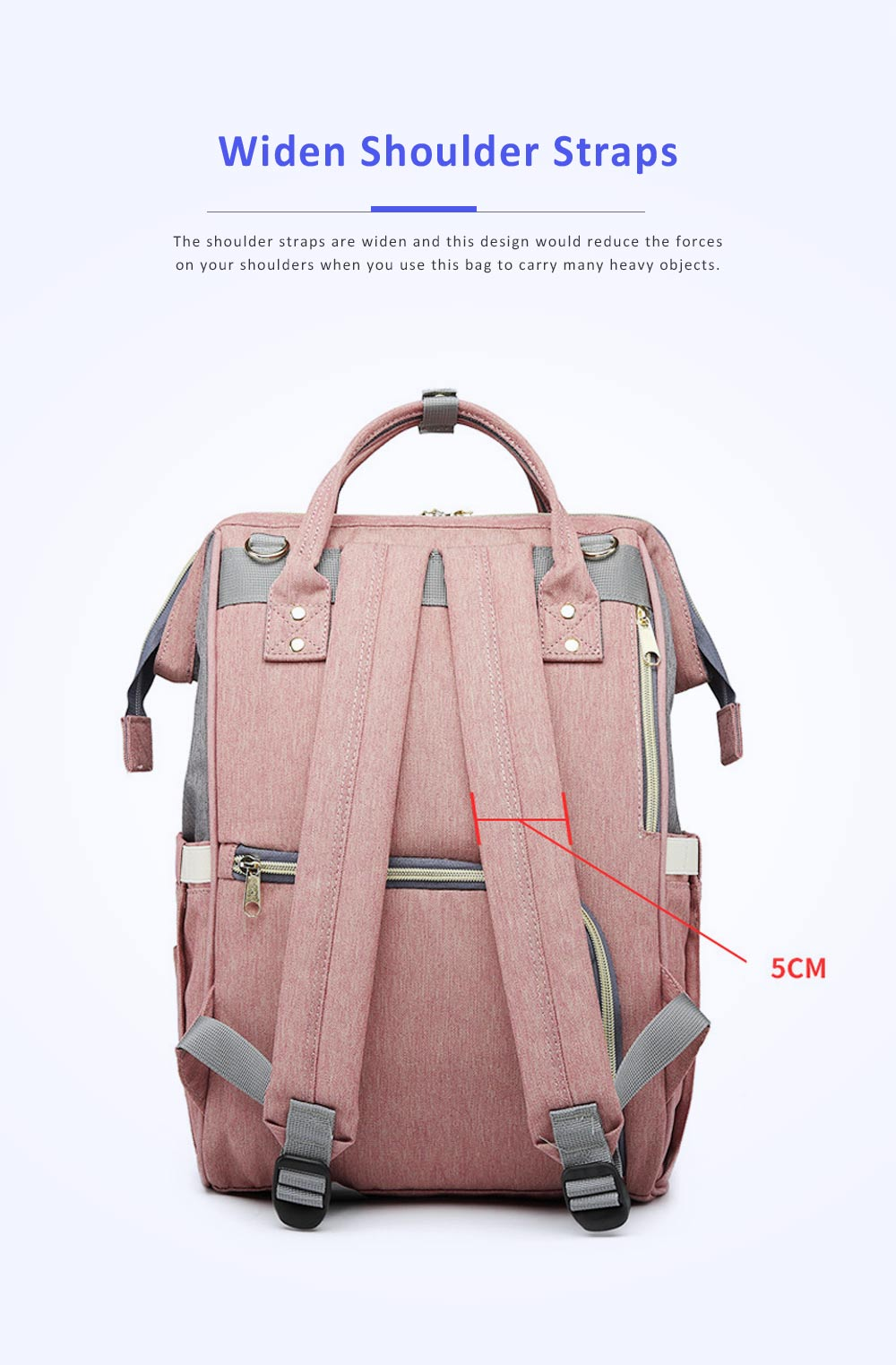 Multifunctional Canvas Baby Diaper Bag, Delicate Luxury Mummy Maternity Nappy Travel Messenger Backpack 4