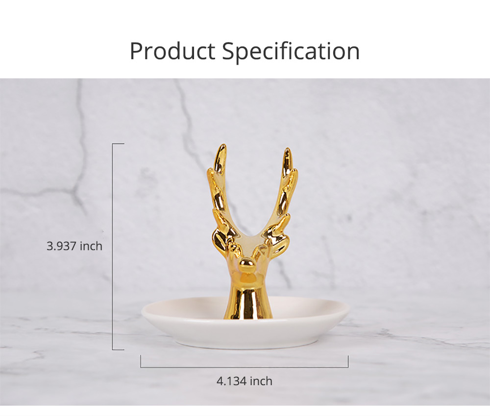 North Europe Deer Head Jewelry Rack Holder for Necklace Storage Simple Jewelry Disk Ceramic Rack Jewelry Rack Wall Mounted Golden Household Gadget 7