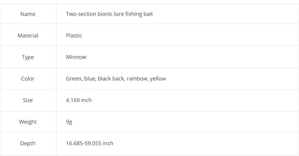 Two-Section Bionic Lure Fishing Bait Minnow for Outdoor Fishing, Fishing Lure Trolling Hard Bait 9g/4.169inch Fishing Gear 7