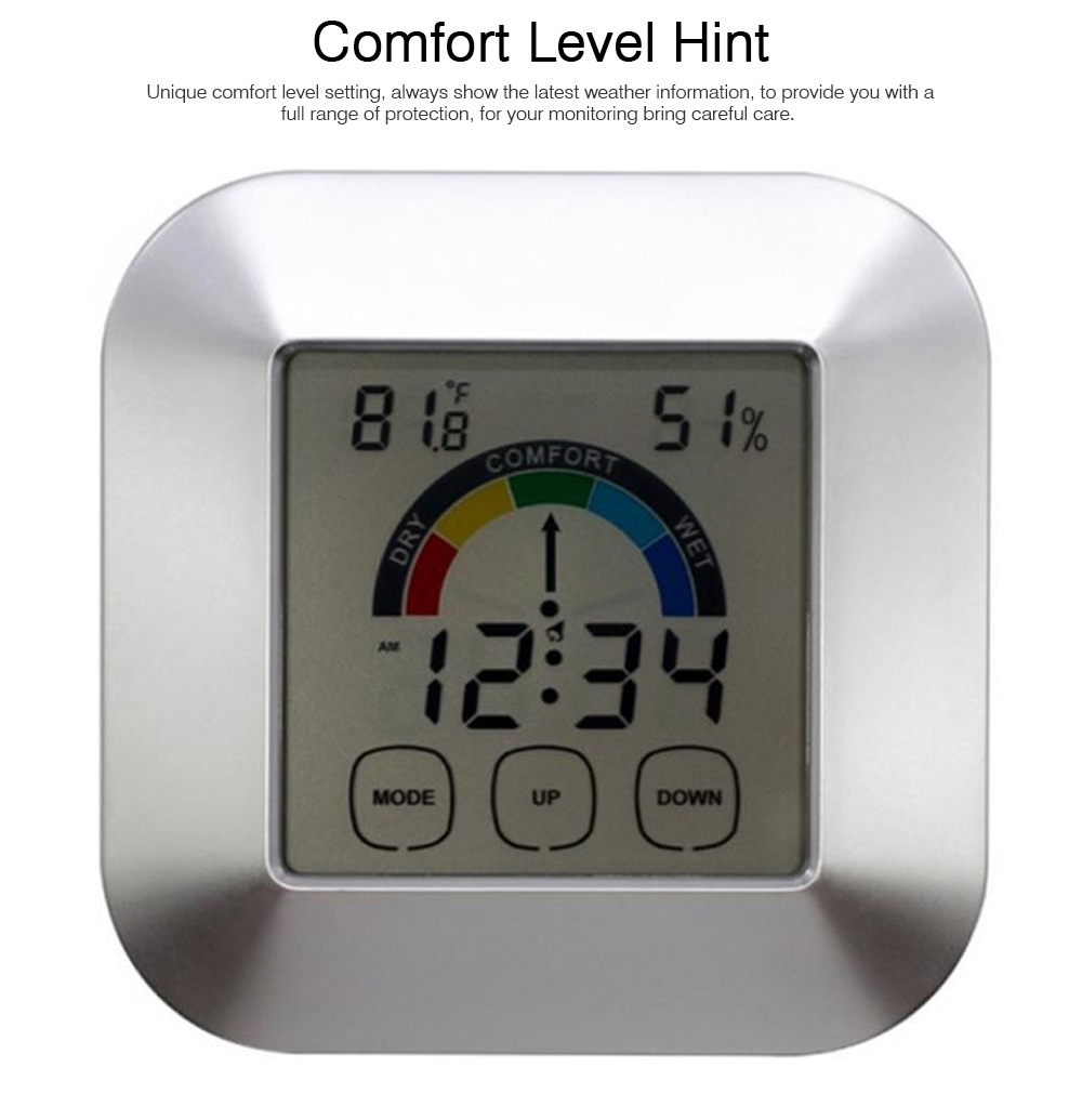Temperature & Humidity Touch Electronic Weather Clock, Indoor Temperature & Humidity Gauge, Comfort Indicator Thermometer 2