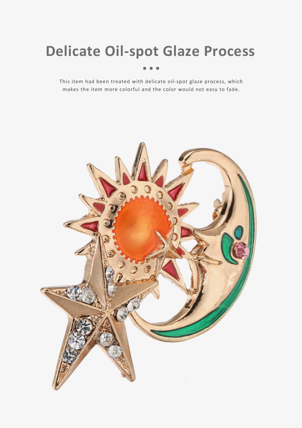 Sun Star Moon Breastpin, Fancy Delicate Shiny Alloy Brooch Scarf Ornament Oil-spot Glaze Rhinestone Decoration Brooch 2
