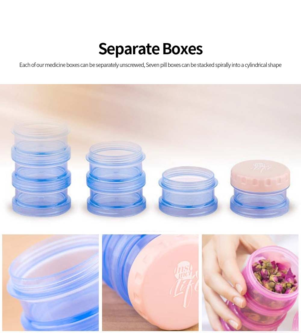 Cylindrical Pill Box 7 Compartments BPA Free Plastic Medicine Organizer Portable Storage Box for Home Travel 5