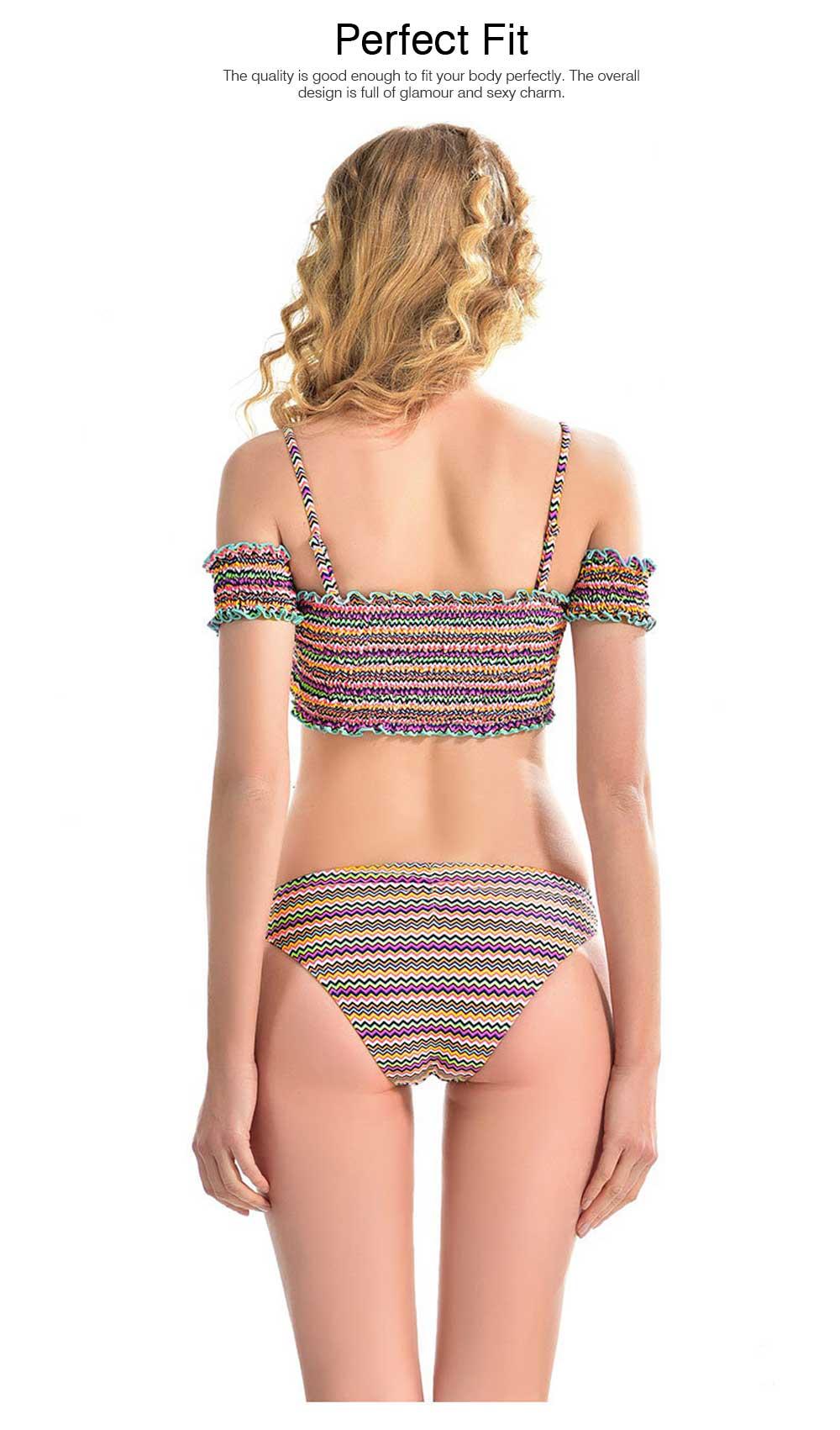 Off Shoulder with Straps Bikini for Girls, Tube Top Split Bikini, Women Sexy Swimwear 2 PCS, Women Colored Lines Popular Off Shoulder Beach Suit 5