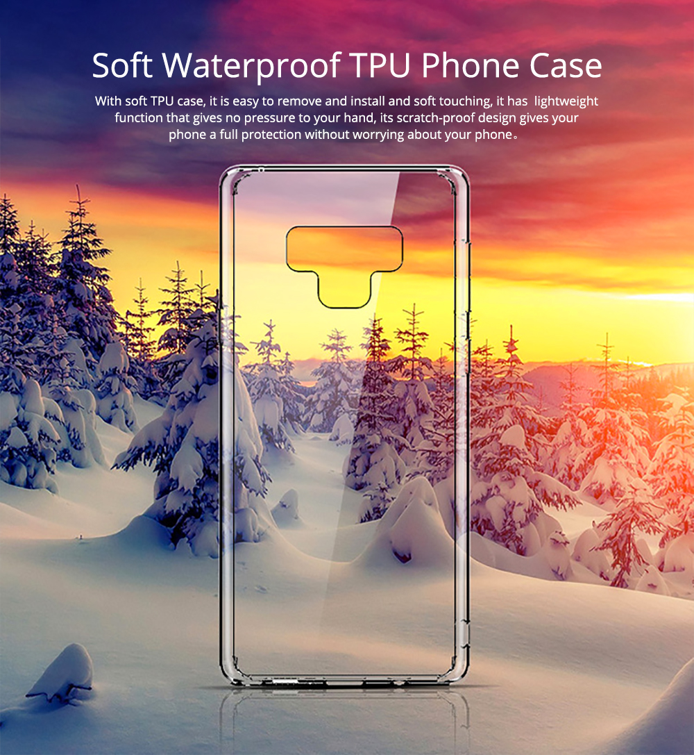 Ultra Soft Waterproof TPU Phone Case Cover with Transparent Frame Compatible with Samsung Note 9 0