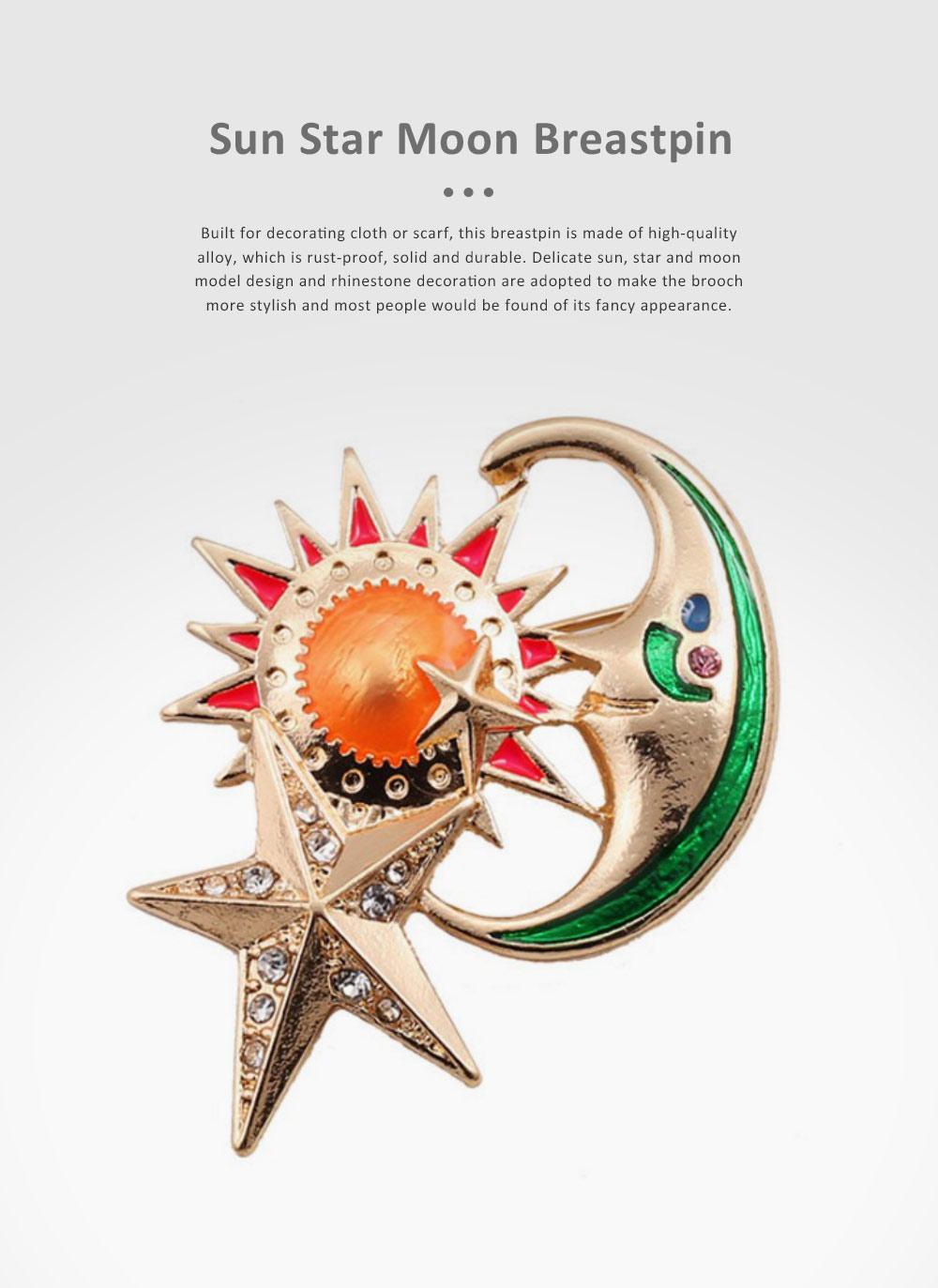 Sun Star Moon Breastpin, Fancy Delicate Shiny Alloy Brooch Scarf Ornament Oil-spot Glaze Rhinestone Decoration Brooch 0