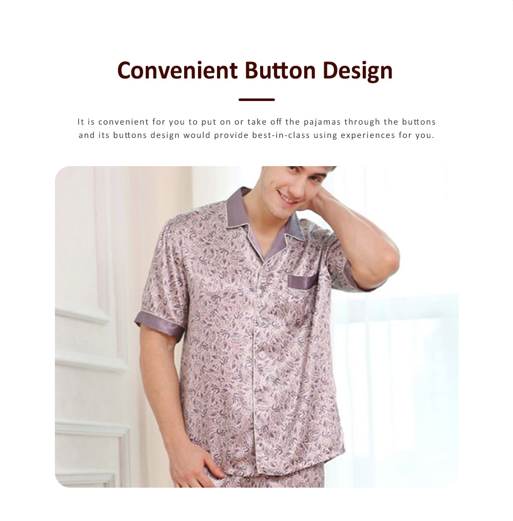 Spring Summer Artificial Silk Men Short Sleeve Pajamas Set, Delicate Elegant Pattern Satin Long Sleepwear Suit 5