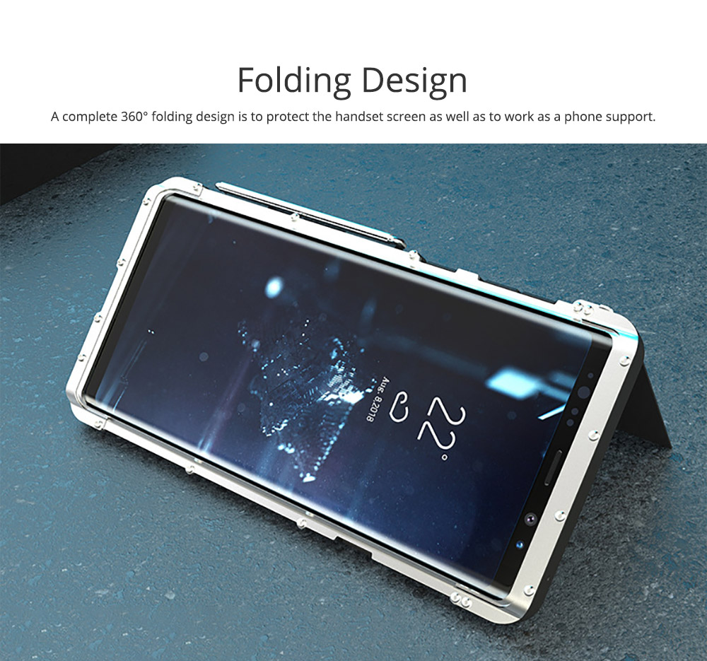 Phone Cover for Samsung Note 9, Metal Protective Phone Case, Creative Anti-smash Cover with Sucking Disk Folding Design, Phone Cover Handset Accessories 2