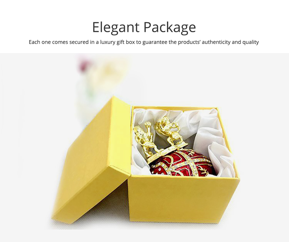 European Palace Style Egg-shaped Jewelry Storage Box Innovative Metal Artwork Ornament Jewelry Holder 3