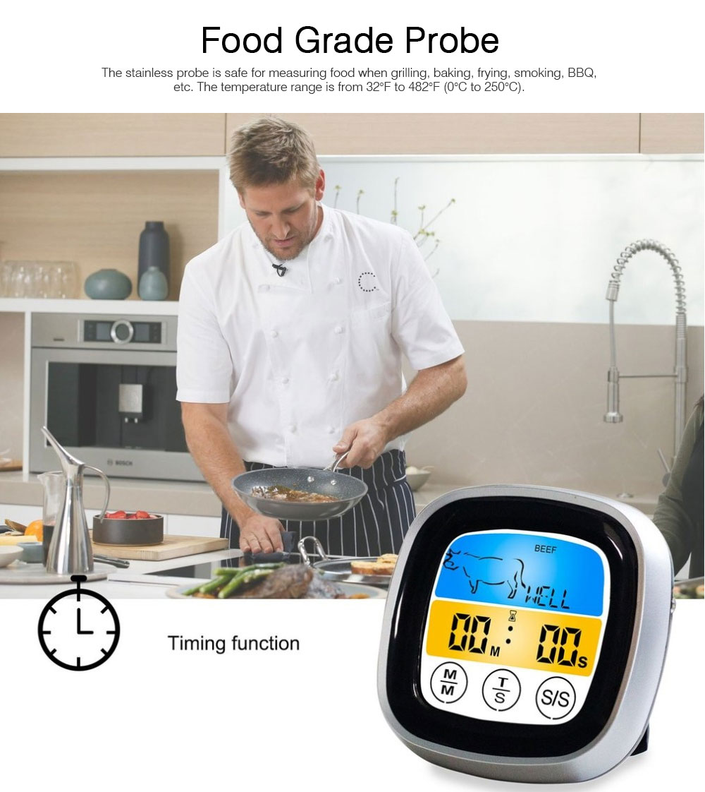 Outdoor Barbecue Thermometer Timer, Kitchen Food Digital Display Touch Thermometer, Cooking Thermometer with Food Grade Stainless Steel Probe 4