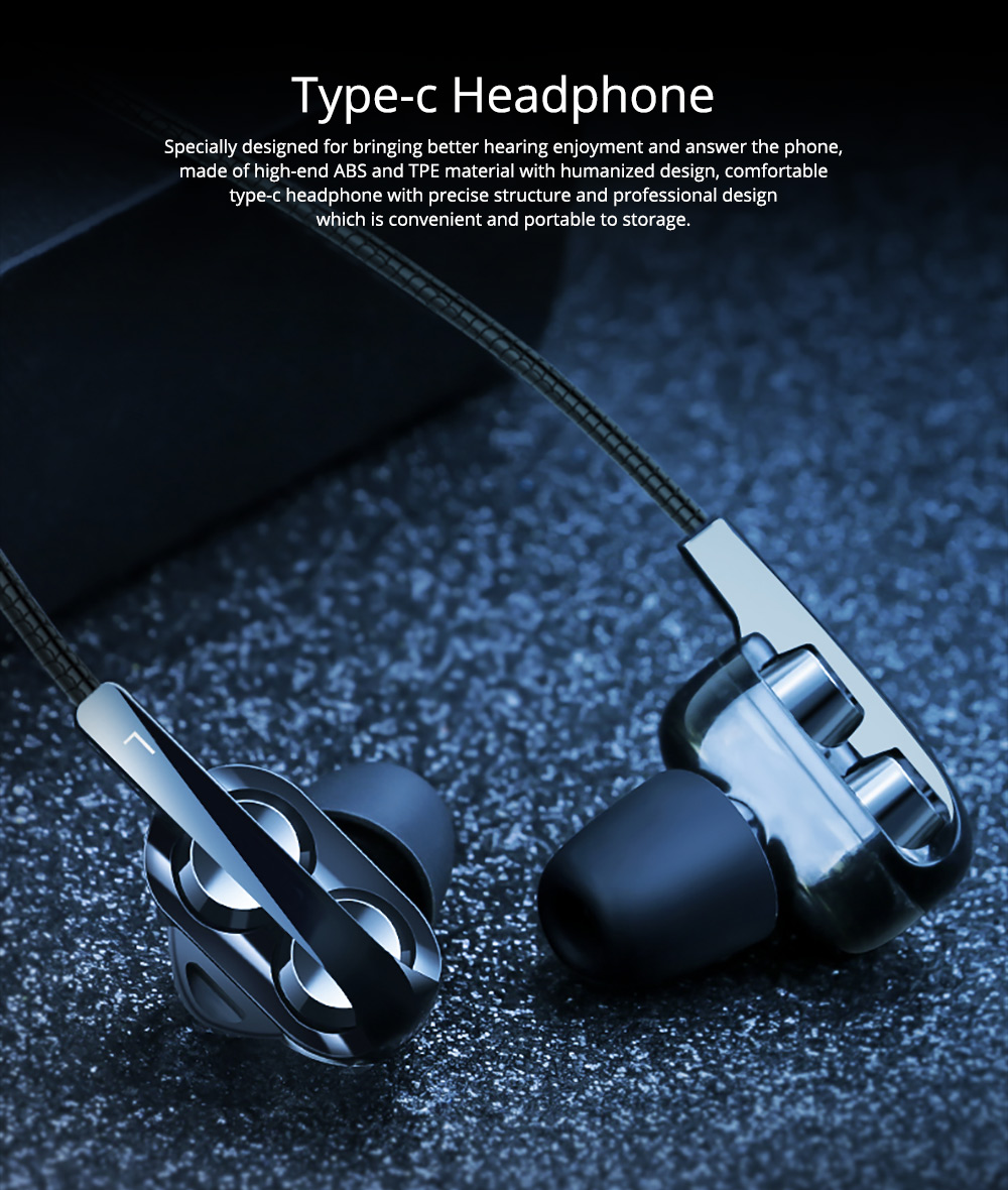 Type-c Headphone with Dual Moving-coil Interface, Quad-core Sound Quality Semi-in-ear Earphone for XIAOMI & HUAWEI, Noise Reduction In-ear Headset 0