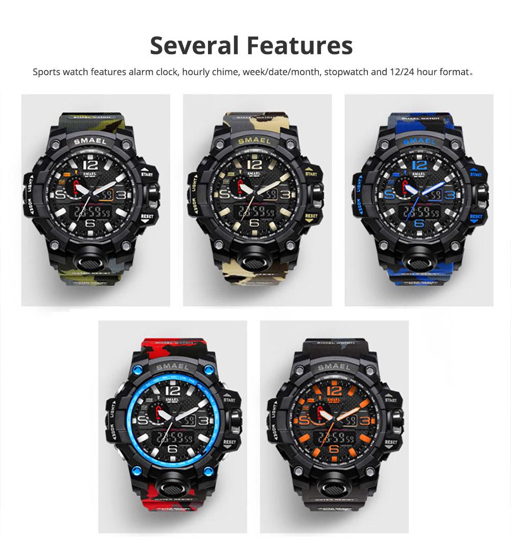 Men's Sports Analog Digital Watch, Waterproof Multifunctional Large Dial Wrist Watch for Men 3