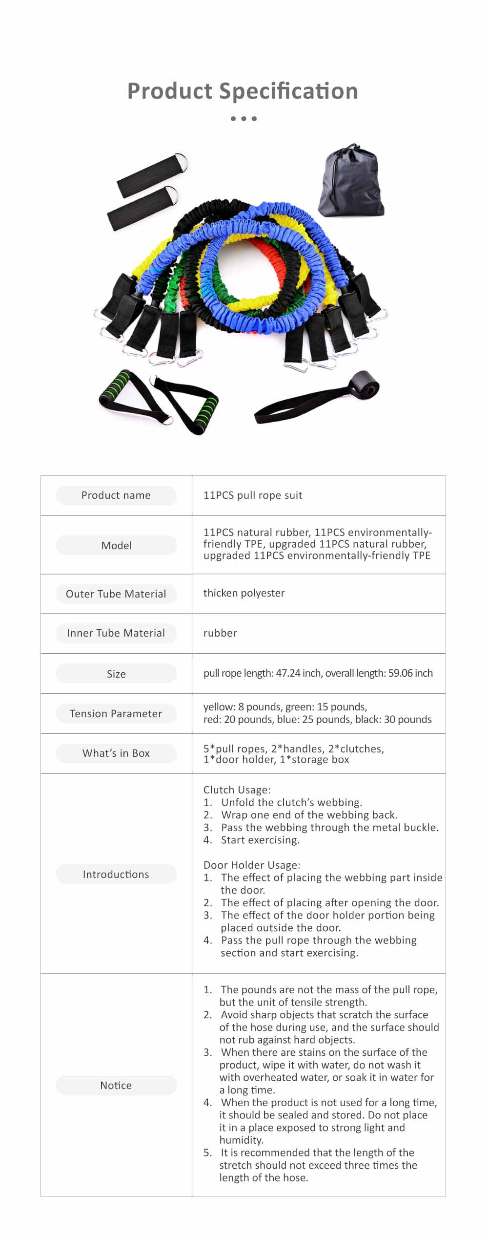 Multifunctional Safe Breaking-proof 11PCS Pull Rope Suit, Gym Yoga Training Exercising Elastic Resistance Band 10