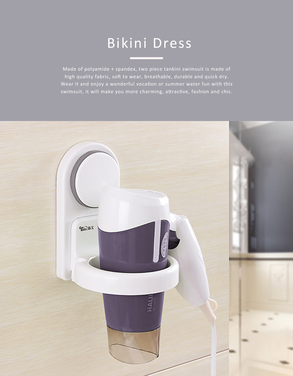 Hair Dryer Rack Portable Plastic Wall-mounted Suction Cup Storage Duct Frame for Bathroom Kitchen 0