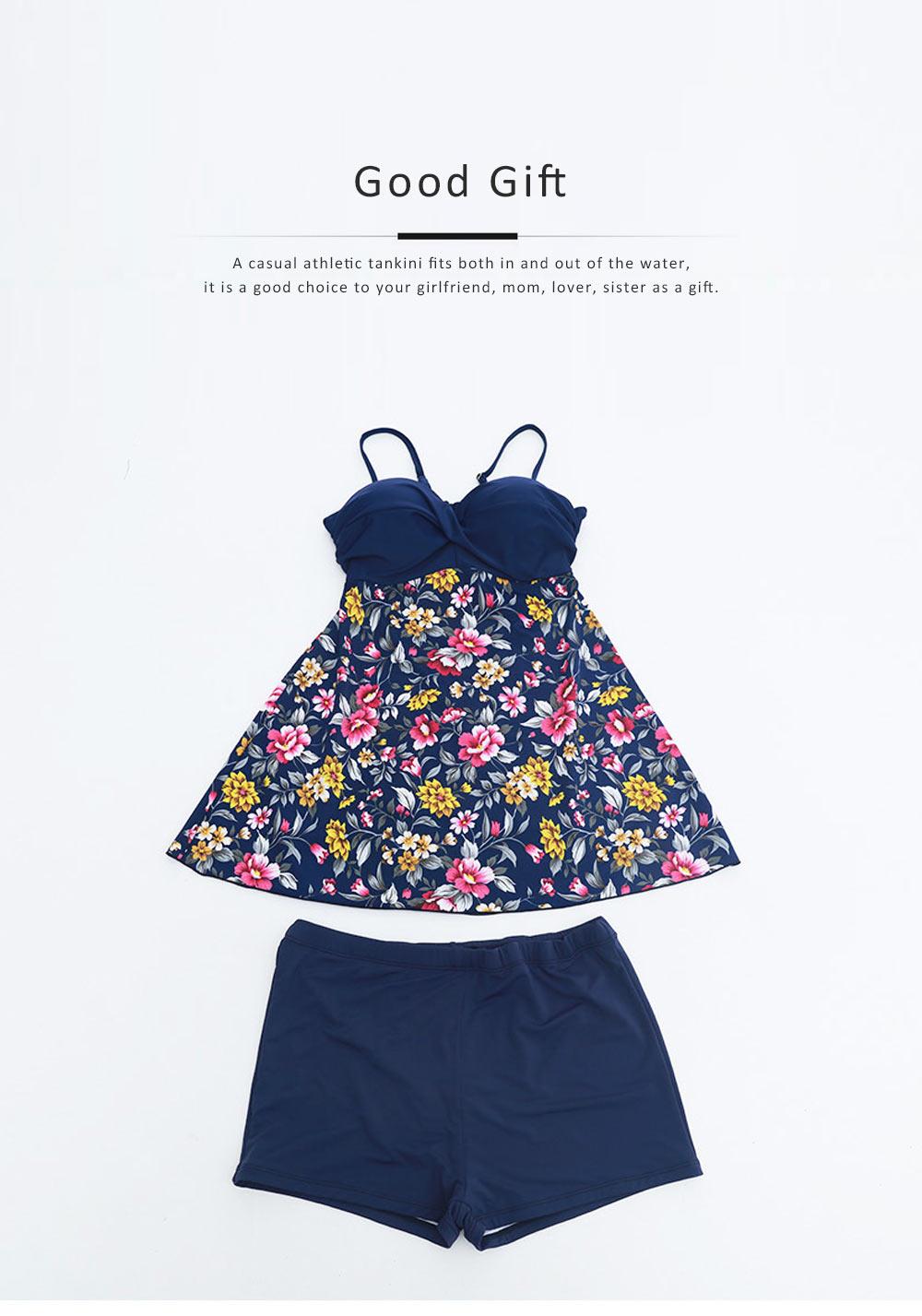 Women Floral Tankini Tummy Control Swimwear Tank Top Retro Printed Swimsuit with Boyshorts Two Piece Bathing Suit 2