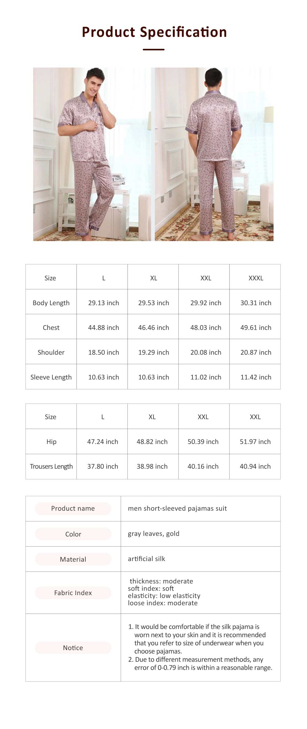 Spring Summer Artificial Silk Men Short Sleeve Pajamas Set, Delicate Elegant Pattern Satin Long Sleepwear Suit 6