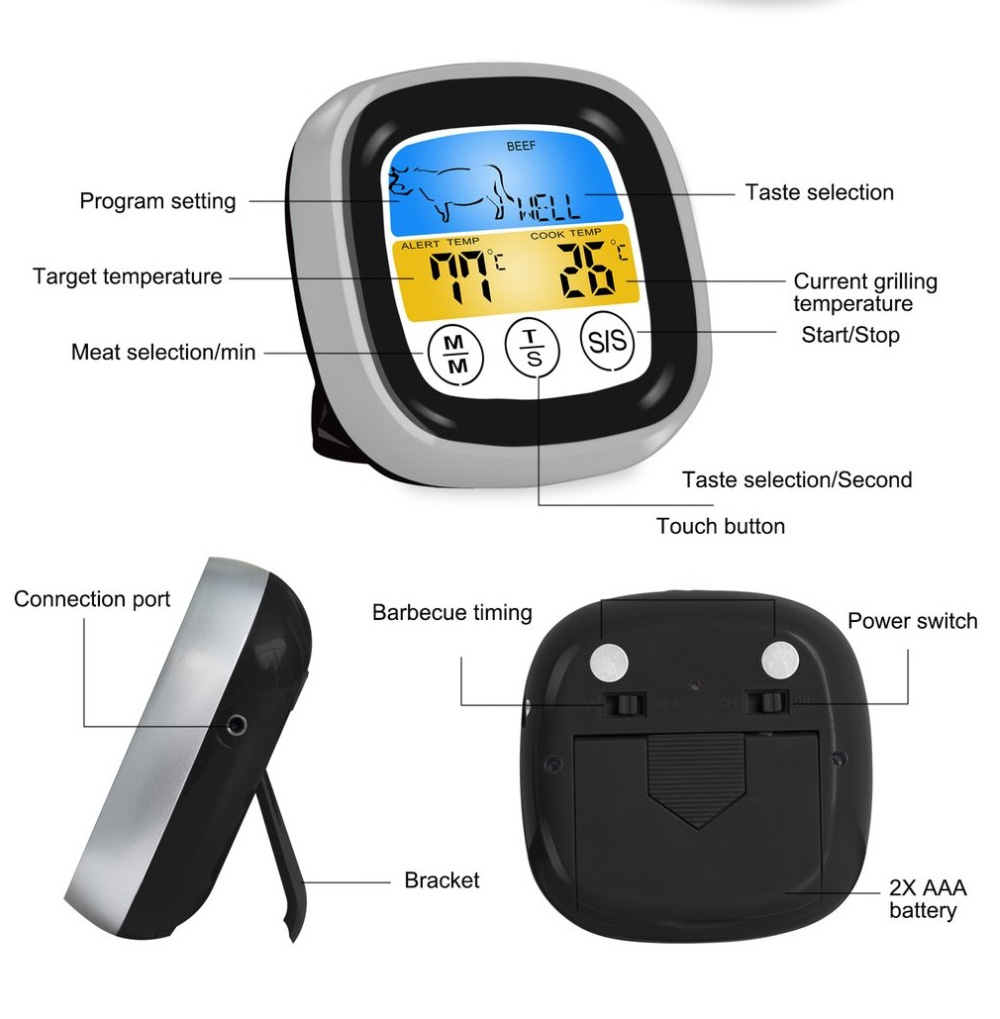Outdoor Barbecue Thermometer Timer, Kitchen Food Digital Display Touch Thermometer, Cooking Thermometer with Food Grade Stainless Steel Probe 5