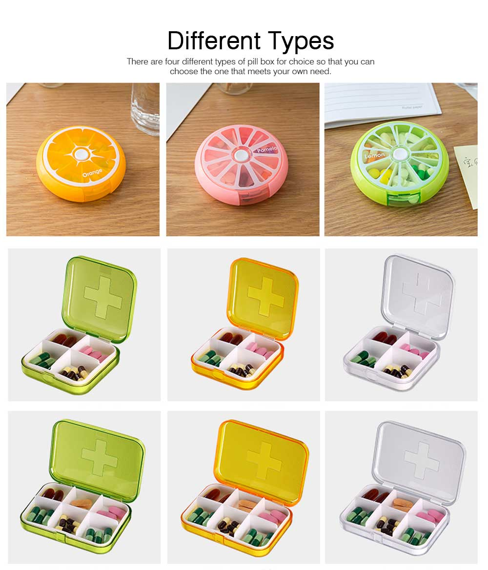 7 DAY Organizer Mini Pill Box Plastic Medicine Box for Pills Vitamin Tablets One-week Pill Organizer Container 8