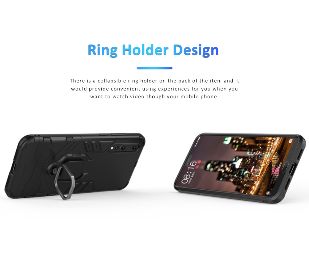 Soft PC TPU Huawei Phone Case with Vehicle Magnetic Attraction, Minimalist Luxury Breaking-proof Phone Cover with Ring Holder 3
