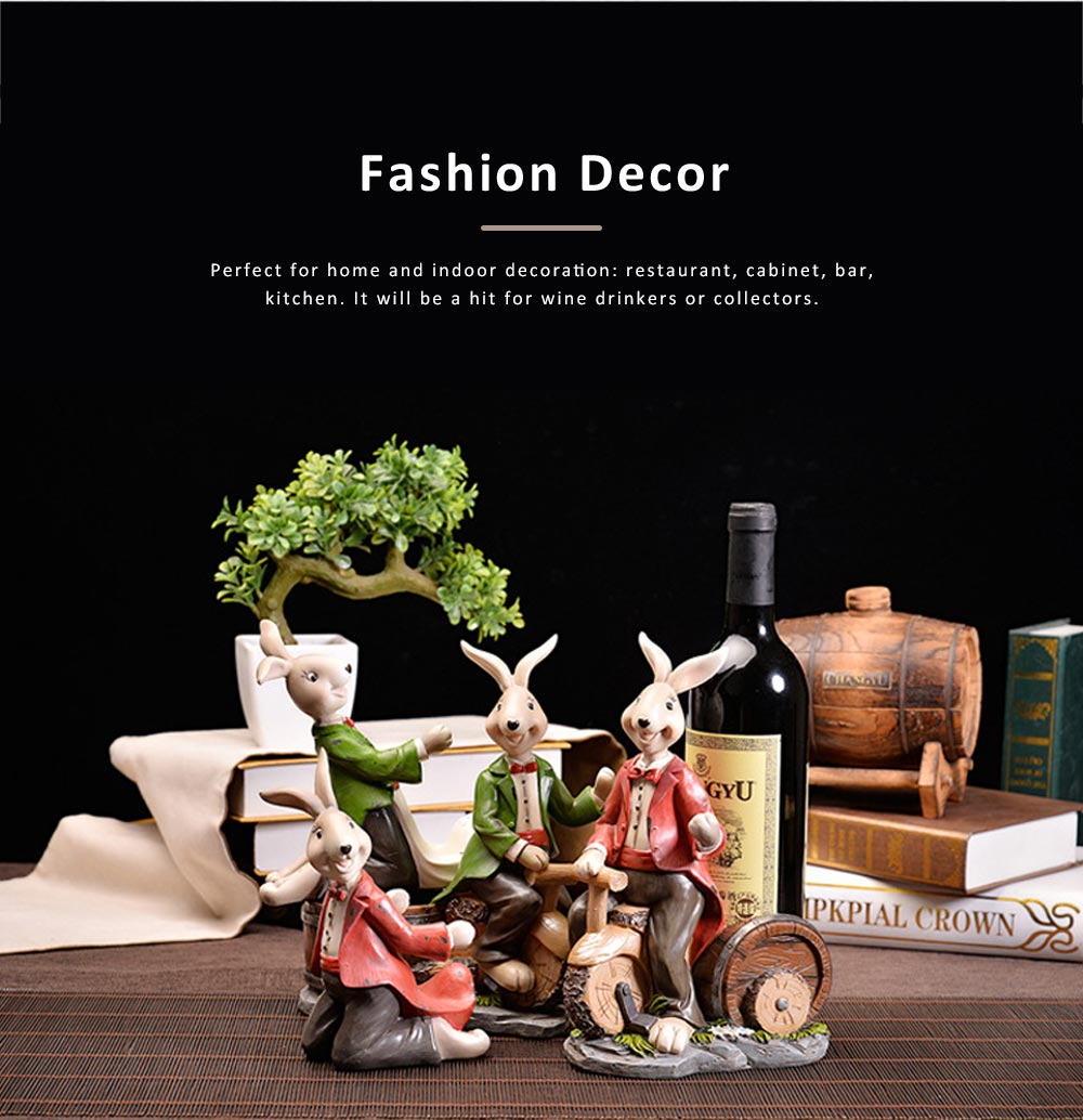 Wine Rack with Creative Cartoon Rabbit, European Resin Home Crafts Restaurant Fashion Wine Cabinet Decoration for Easter 4