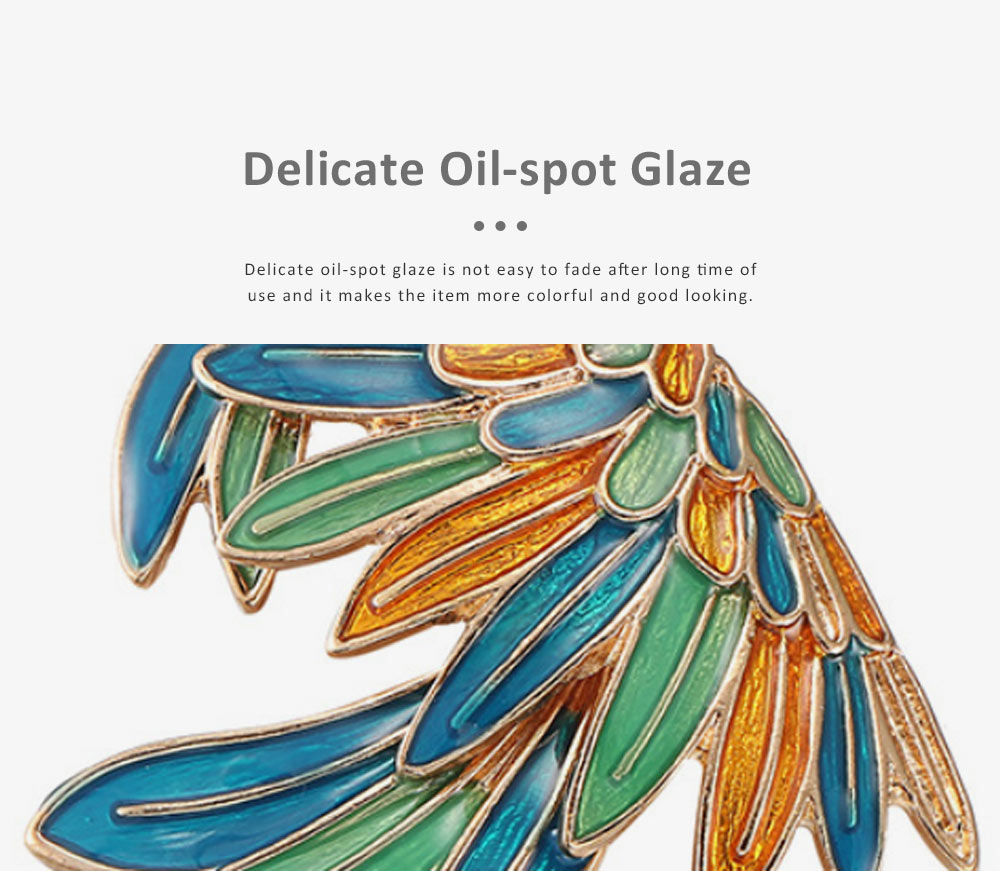 Delicate Fancy Bird of Paradise Model Breastpin for Ladies, Colorful Oil-spot Glaze Brooch Clothes Ornament Decoration 2