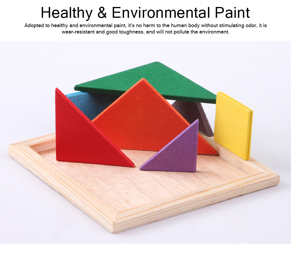 Geometric Shapes Puzzles with Wood Material, Colorful Environmental Paint Construction Toys for Children Over 3 Year-old Shock-Resistant Seven-piece Puzzle 3