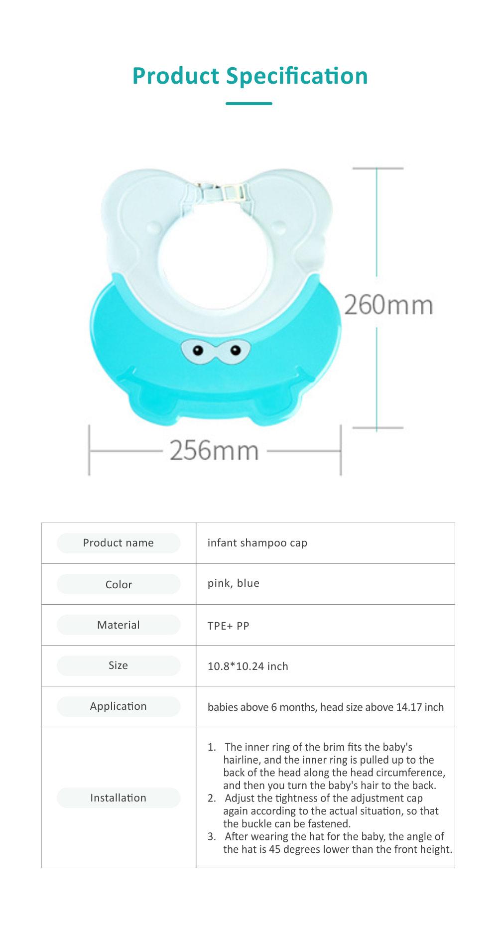 Animal Model Baby Shampoo Cap, Ultra-soft Elastic Ears Eyes Mouth Protection Shower Hat for Infants Shampoo Cap 6