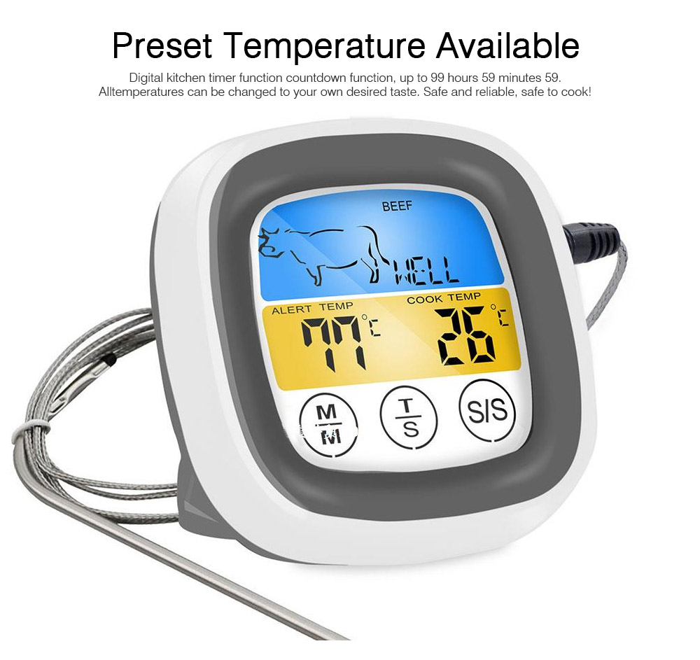 Outdoor Barbecue Thermometer Timer, Kitchen Food Digital Display Touch Thermometer, Cooking Thermometer with Food Grade Stainless Steel Probe 2