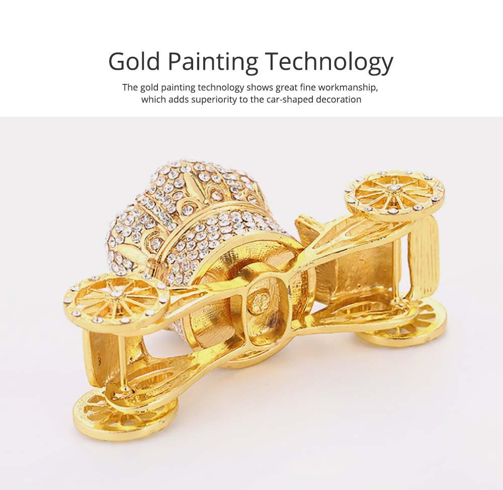 European Style Luxury Jewelry Storage Case, Diamond-mounted Artwork Crown Storage Box with Car-shaped Decoration Ornament  2