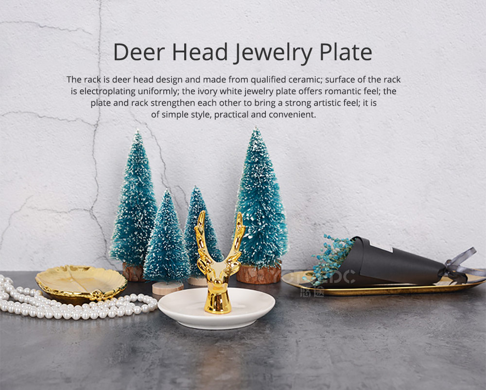 North Europe Deer Head Jewelry Rack Holder for Necklace Storage Simple Jewelry Disk Ceramic Rack Jewelry Rack Wall Mounted Golden Household Gadget 0