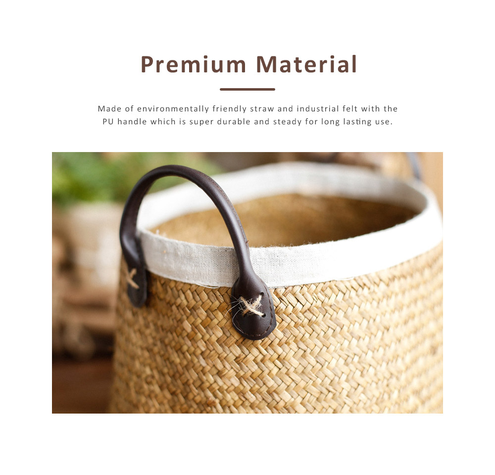 Handmade Woven Basket Large Capacity Home Toys Storage Bag Shopping Bag Fashion Home Flower Basket Decor with Leather Handle 1
