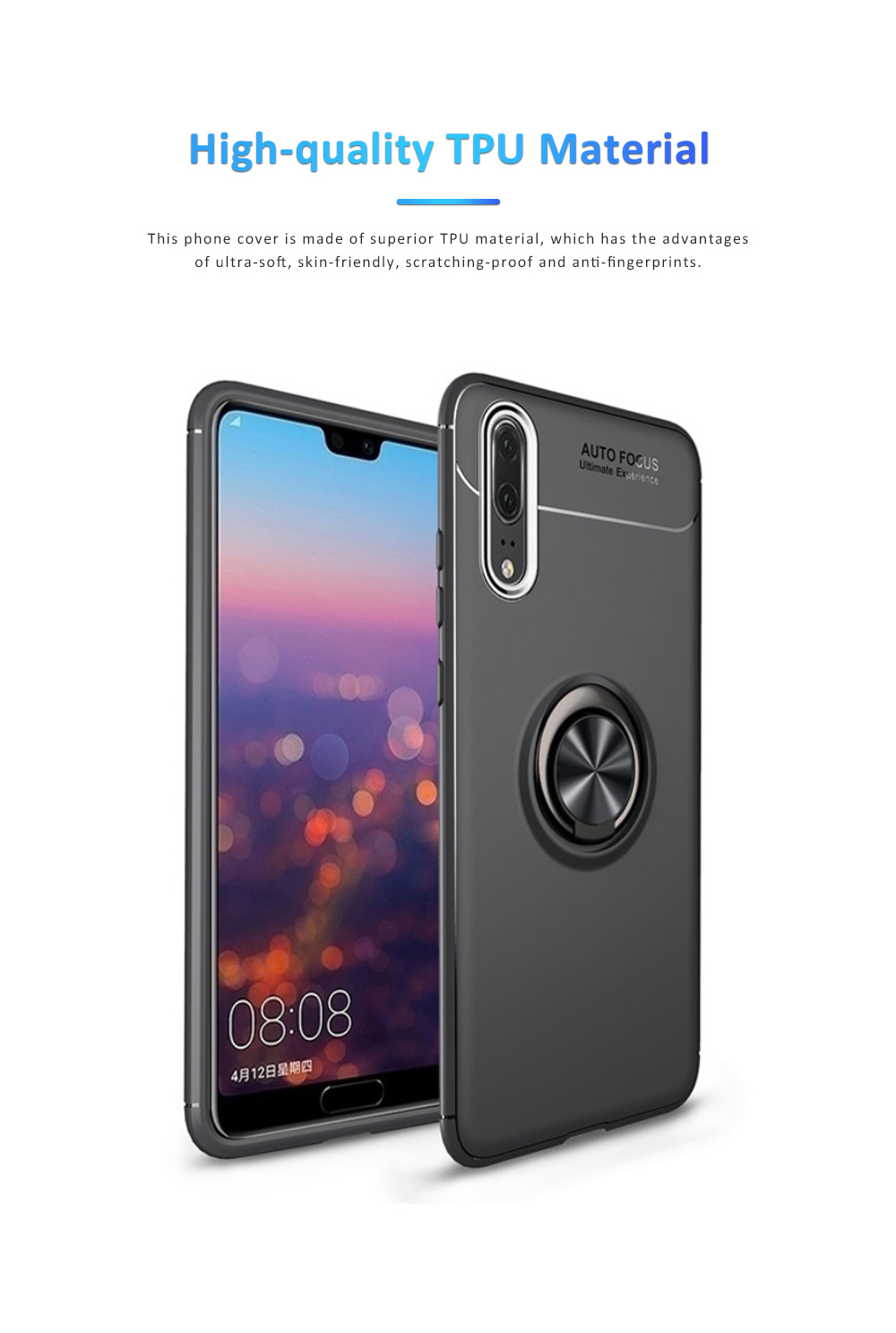 Ultra-soft Smooth TPU Huawei Phone Cover with Vehicle Magnetic Attraction, Simple Phone Case for Huawei Honor with Invisible Alloy Ring Holder 1