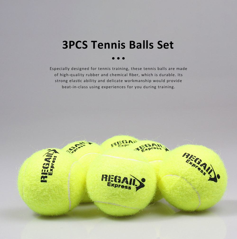3PCS General Teenagers Training Pressure Tennis Balls Set, Delicate Durable Elastic Rubber Practice Tennis 0