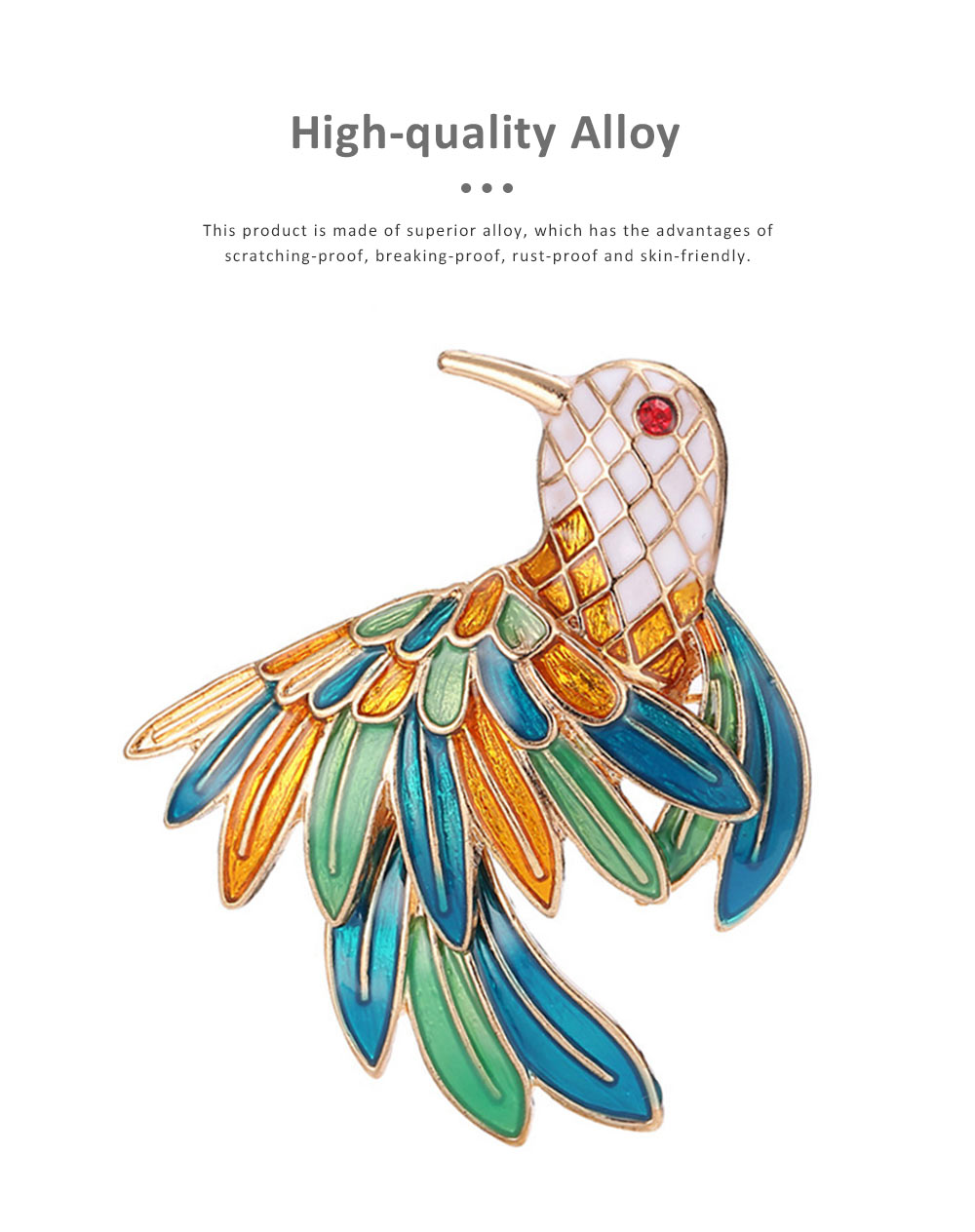 Delicate Fancy Bird of Paradise Model Breastpin for Ladies, Colorful Oil-spot Glaze Brooch Clothes Ornament Decoration 1