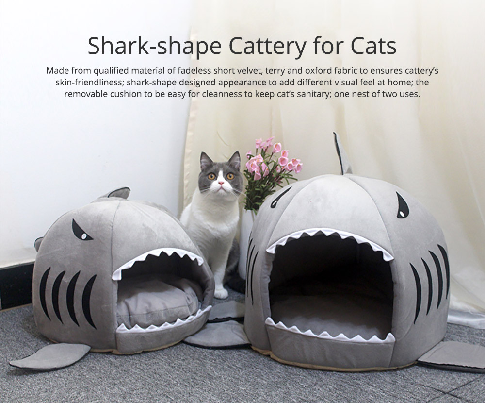 Shark-shaped Cattery Four Seasons Warm  Cat Nest, Winter Cattery Indoor Closed Cat Beds 0