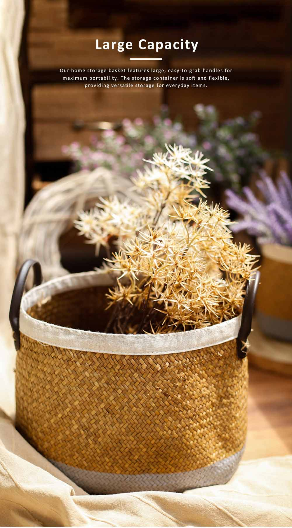 Handmade Woven Basket Large Capacity Home Toys Storage Bag Shopping Bag Fashion Home Flower Basket Decor with Leather Handle 4