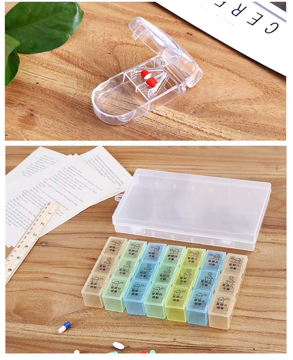 7 DAY Organizer Mini Pill Box Plastic Medicine Box for Pills Vitamin Tablets One-week Pill Organizer Container 9