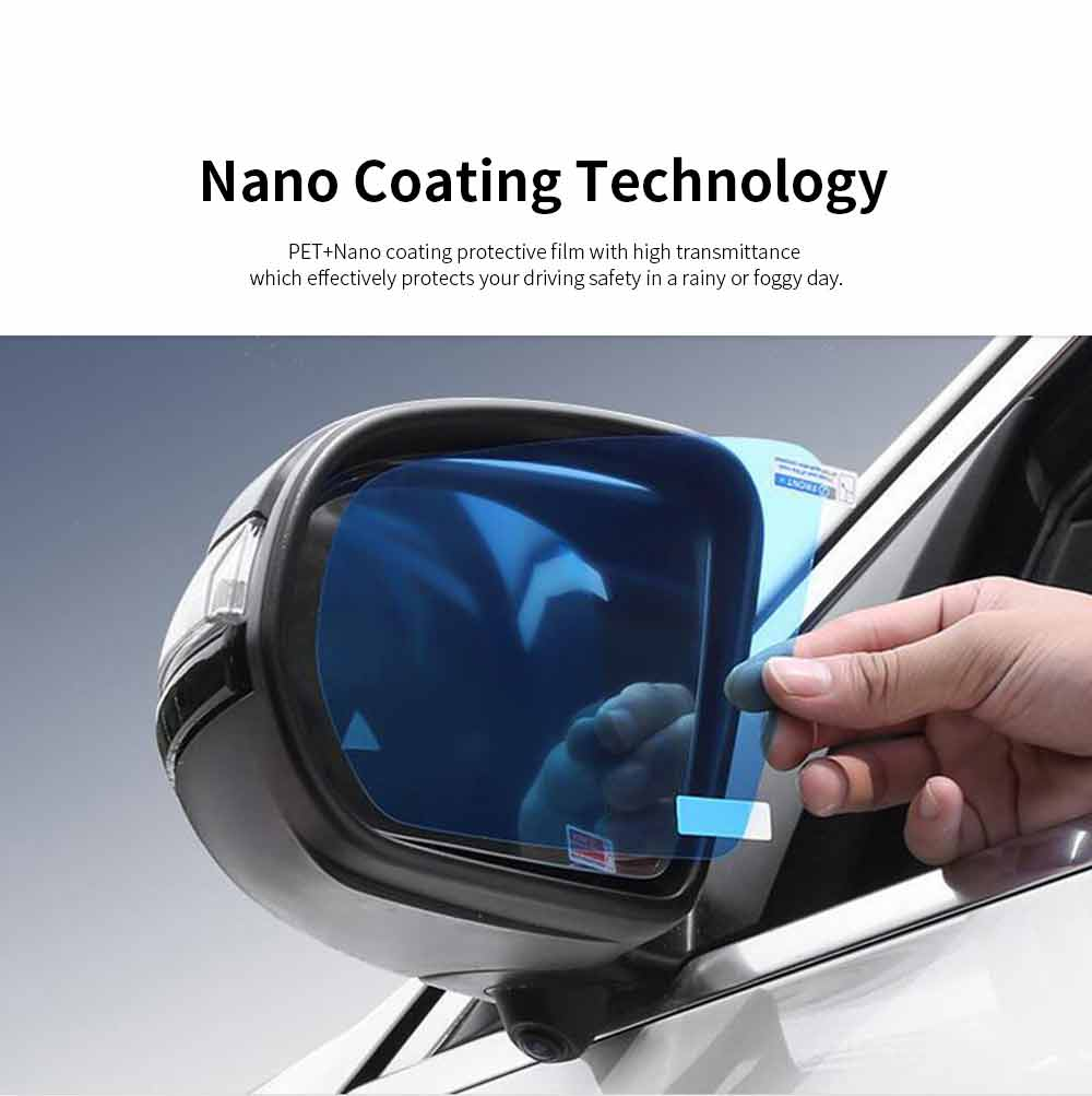 Car Rearview Mirror Glass Film Rainproof Anti-Fog Film Dust-Proof Anti-Glare Anti-Scratch Protective Film 4