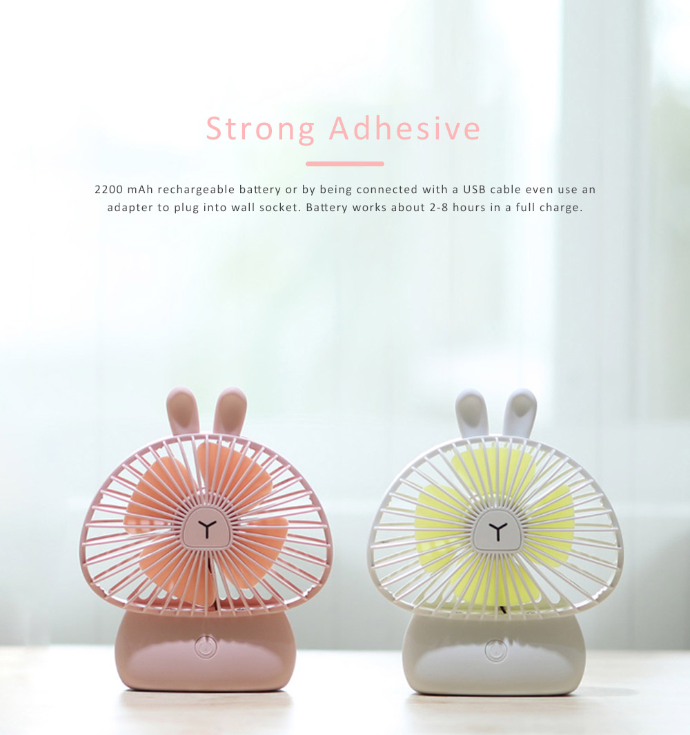 Portable Desk USB Fan Mini Stroller Table Fan with USB Rechargeable Battery Small Size 4 Speeds for Home Office and Dorm-White 3